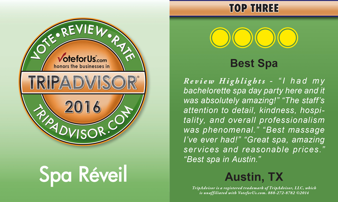 Voted Top 3 Spa in Austin Tx by Tripadvisor
